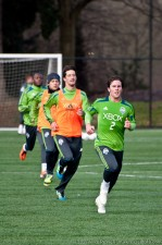 Mike Fucito leads Flaco, Fredy Montero, and Steve Zakuani during sprints