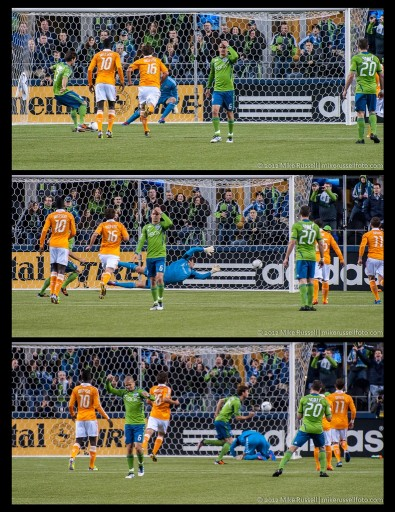 Triptych of Evans' PK. Notice Alonso doesn't watch, but celebrates when the crowd erupts.