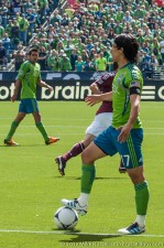 Fredy Montero not happy with an offside call