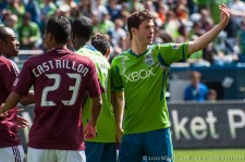 Brad Evans calls over another player