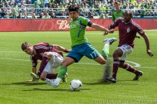Fredy Montero gets a good strike on goal, but it was saved