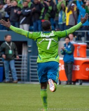 Eddie Johnson celebrates 1st goal at CenturyLink Field