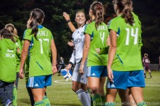 Seattle Sounders Women: Hope Solo celebrates the clean sheet