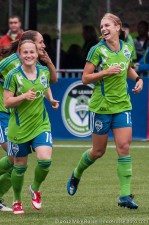 Seattle Sounders Women: Alex Morgan, Lyndsey Patterson, and Stephanie Cox celebrate Alex's goal