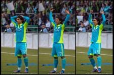 Seattle Sounders USOC: Fredy Montero waits for the ref's decision to give the goal