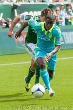 Sounders v Timbers: Eddie Johnson runs away from Horst...