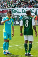Sounders v Timbers: Montero having a word with the assitant referee