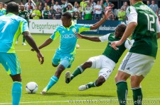 Sounders v Timbers: Diego Chara blocks Cordell Cato's shot