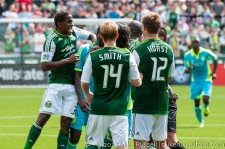 Sounders v Timbers: Palmer gets red carded for this elbow into Johnson's neck