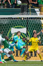 Sounders v Timbers: Andrew Weber watches as Parke clears