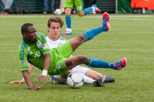 Steve Zakuani got up from his first hard tackle