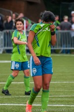 Seattle Sounders Women: Sydney Leroux after receiving a crunching tackle