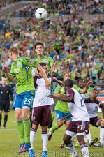 Sounders - Rapids: Alvaro Fernandez rises to head in his first goal of the season