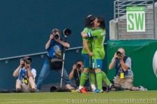 Sounders-LA Galaxy: Photo Op - Fredy and Mauro celebrate Fredy's goal