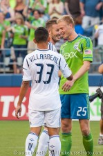 Sounders-LA Galaxy: Rose and Beckham have a laugh
