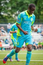 Sounders-Galaxy Reserves: Steve Zakuani celebrates his second goal