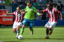 Sounders-Chivas: Christian Tiffert, Nick LaBrocca, and Shalrie Joseph