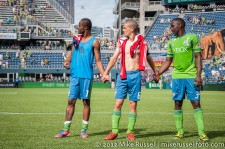 Sounders-Chivas: Steve Zakuani, Ozzie Alonso, and Jhon Kennedy Hurtado