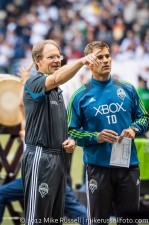 Sounders-Whitecaps: Asst coach Brian Schmetzer and goalkeeper coach Tom Dutra