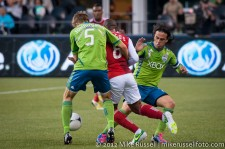 Sounders-Timbers: Adam Johansson, Franck Songo'o, and Mauro Rosales
