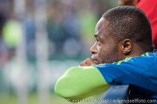 Sounders-Timbers: Steve Zakuani watches after the last sub was made