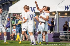 UW - Seattle U: UW celebrating Abdul Aman's goal