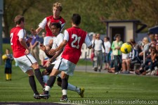 UW - Seattle U: Abdul Aman triple-teamed by Chase Hanson, Brady Ballew, and Jose Merlo