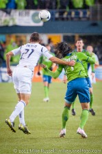 MLS Playoffs - Sounders v LA: Tommy Meyer grabs hold of Fredy Montero