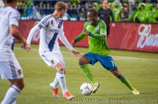 MLS Playoffs - Sounders v LA: Christian Wilhelmsson and Steve Zakuani