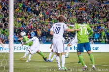 MLS Playoffs - Sounders v LA: Zach Scott gets just enough to head in a goal