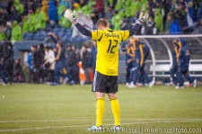 MLS Playoffs - Sounders v LA: Josh Saunders celebrates after the final whistle blows