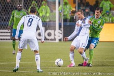 MLS Playoffs - Sounders v LA: David Beckham and Brad Evans