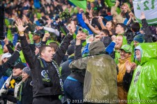 MLS Playoffs - Sounders v LA: Celebrating EJ's goal