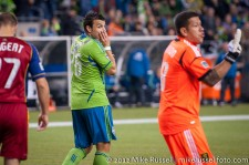 MLS Playoffs Sounders-RSL: Sammy Ochoa reacts to missing a shot