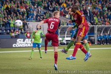 MLS Playoffs Sounders-RSL: Christian Tiffert heads one on goal