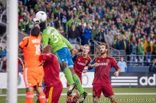 MLS Playoffs Sounders-RSL: Rimando clearing again while Beckerman and Borchers look on