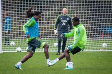 Sounders Preseason (Feb 9, 2013): Shalrie Joseph nutmegs Eddie Johnson