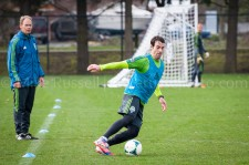 Sounders Preseason (Feb 9, 2013): Brian Schmetzer watches Zach Scott